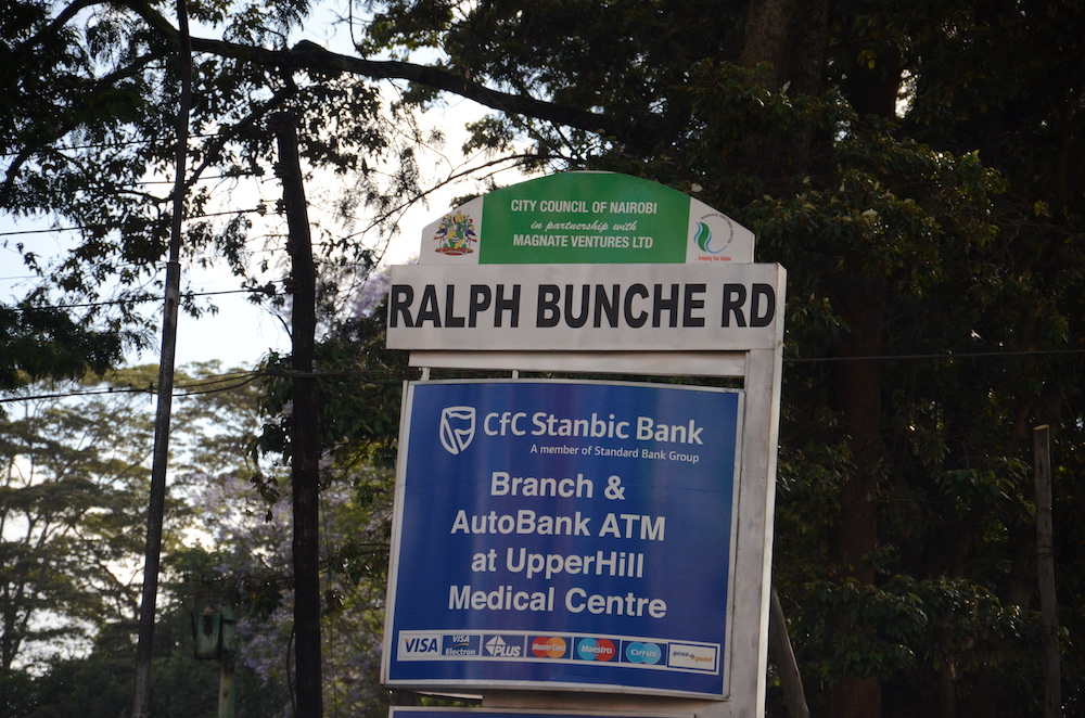 "Road sign of ""Ralph Bunche Rd"" named for the first African-American to win the Nobel Peace Prize"